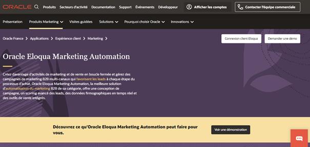 Marketing automation - Page d'accueil Eloqua