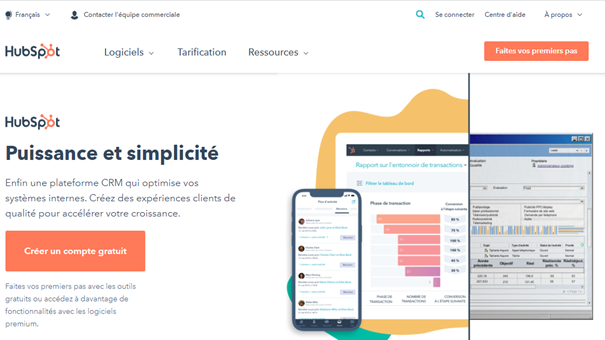 Marketing automation - Page d'accueil Hubspot