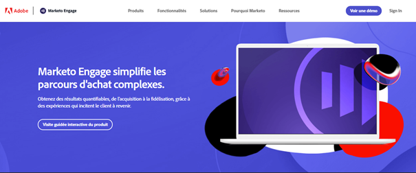 Marketing automation - Page d'accueil Marketo