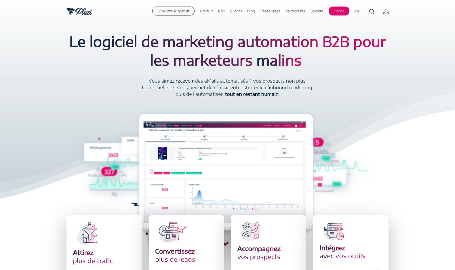 Marketing automation - Page d'accueil Plezi